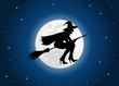 witch moon in blue stars background