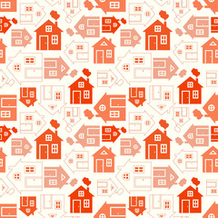 Home sweet home house silhouette and outline seamless pattern