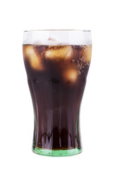 Cola glass with ice cubes