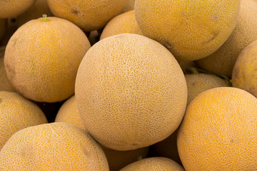 Cantaloupe melons on a market in Greece