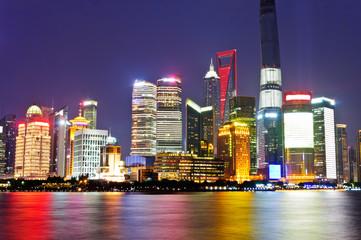 Night at Shanghai city construction in China