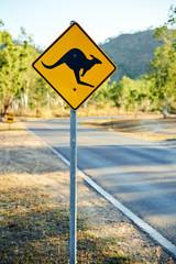 Warning road sign showing a kangaroo shape