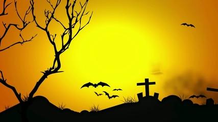 Halloween Orange Pumpkin Dawn Graveyard Animation