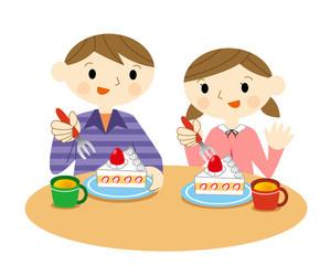 ケーキを食べる子供