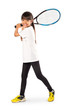 Little asian girl holding tennis racket
