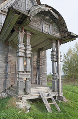 Porch ancient wooden church