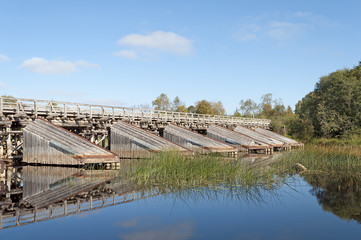 Old wooden bridge with cutwater