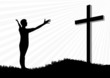 Young man worship and praise silhouette