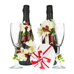 Champagne Bottles with Glass and Wedding Decoration of Flower Ar
