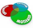 Motivated Organized Skilled 3d Venn Diagram Ideal Worker Employe
