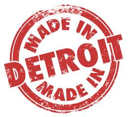 Made in Detroit Words Red Ink Stamp Grunge Badge Emblem Logo