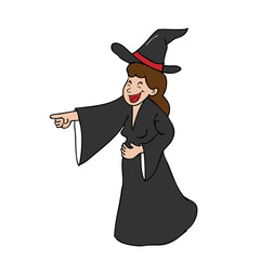 Witch laughing pointing cartoon
