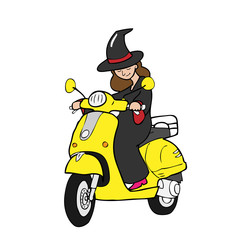 Witch rides scooter cartoon
