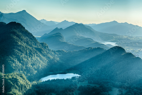 Summer Alpine Scenery - Schwansee and Hills - 71386845