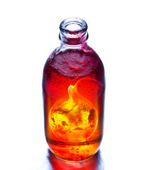 Earth burning in the bottle and red water boil
