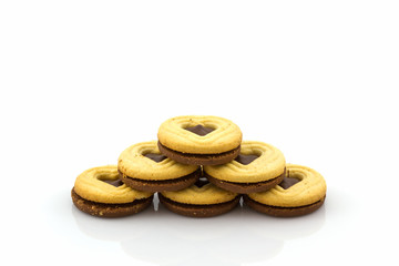 Group of Biscuit Cookie on white background.