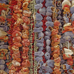 Athens, Greece, dried vegetables at the central market