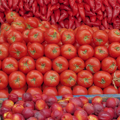 vibrant red fruits and vegetables natural background