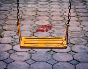 Danger cement floor for children's swing playground
