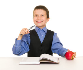 Boy in a business suit with diary