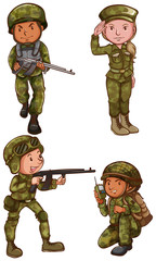 Simple sketches of the soldiers