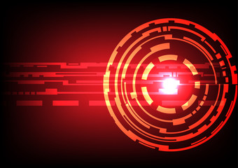 Abstract technology circles dark red color background