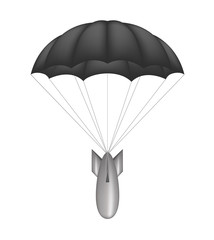 Bomb at black parachute