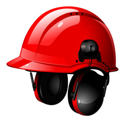 the red helmet with headphones