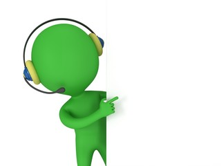 3d green man with headset