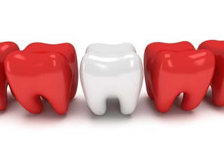 Healthy tooth in row of aching teeth