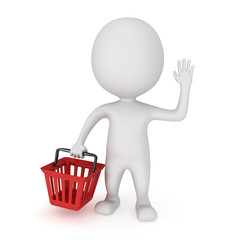 3d white man stand with red shop basket