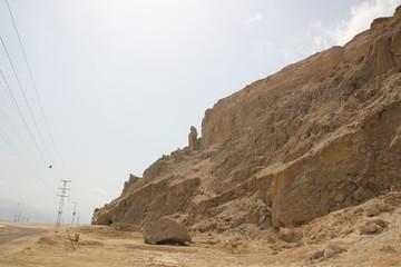 Жена Лота горе Содом в Израиле.