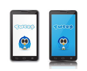 blue bird in ndroid phone