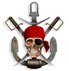 the skull with swords and anchor