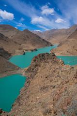 Tibet dam lake top view