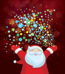 Vector Santa Claus with colorful lights.