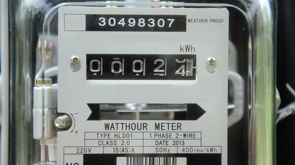 Close up watt meter