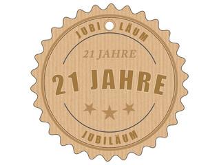 je21 JubiläumsEtikett 21 - vintagedesign - 21 Jahre - g1921