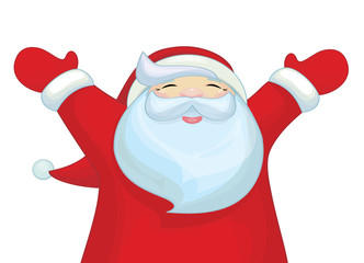 Vector happy Santa Claus cartoon isolated.