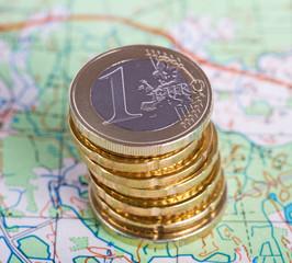 Stack of euro money.