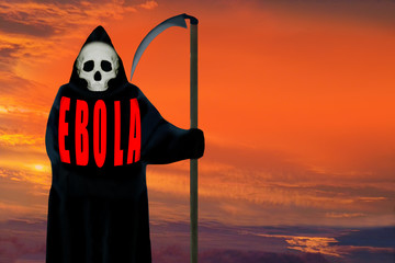 EBOLA, ghost of death, dramatic backdround.