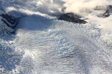 aerial view of franz josef glacier from helicopter in New Zealan