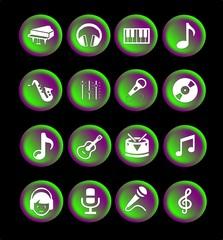 Botones o íconos musicales para web o aplicaciones