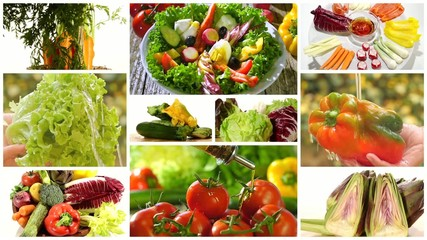 diverse vegetables and mixed salad montage