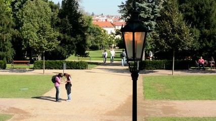 park - green nature (trees) - street lamps -  - city