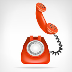 retro red phone with handset up isolated object on white