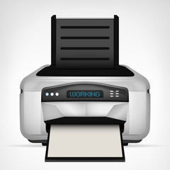 modern printer with blank paper down object isolated
