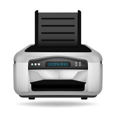 modern printer electronic device object isolated