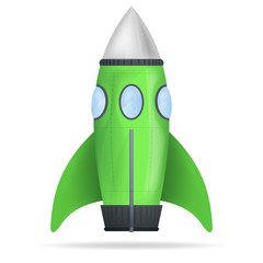 green standing rocket isolated vector