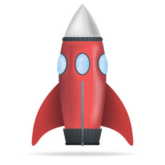 red standing rocket isolated vector
